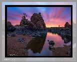 Wschód słońca, Jezioro, Watson Lake, Skały, Prescott, Arizona