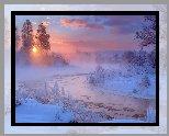 Zima, Rzeka Gwda, Mgła, Drzewa, Wschód słońca, Chmury, Polska