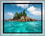 Morze, Ille Saint Pierre, Wyspa, Skały, Palmy, Tropiki, Chmury, Seszele