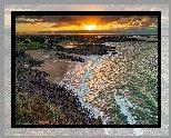 Wybrzeże, Morze, Zachód słońca, Skały, Plaża, Domy, Pointe de la Garde Guerin, Bretania, Francja