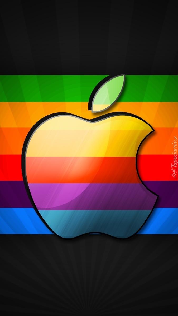 Apple na tęczowym tle