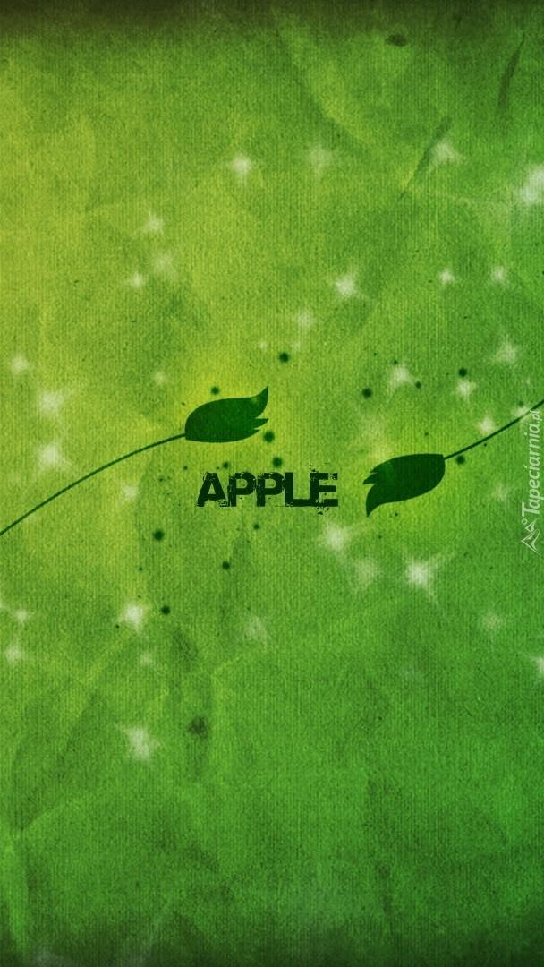 Apple na zielonym tle
