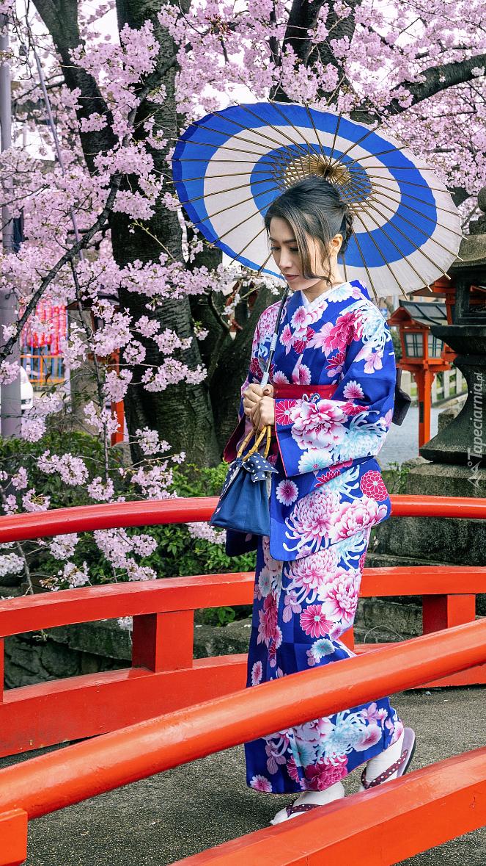 Azjatka w kimono na moście