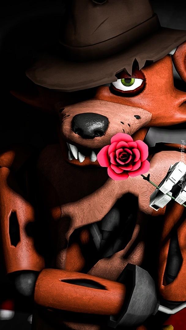 Bajkowy lis z różą