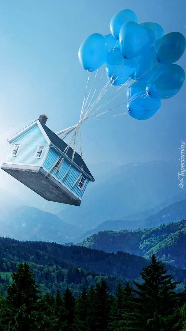 Balony unoszące dom