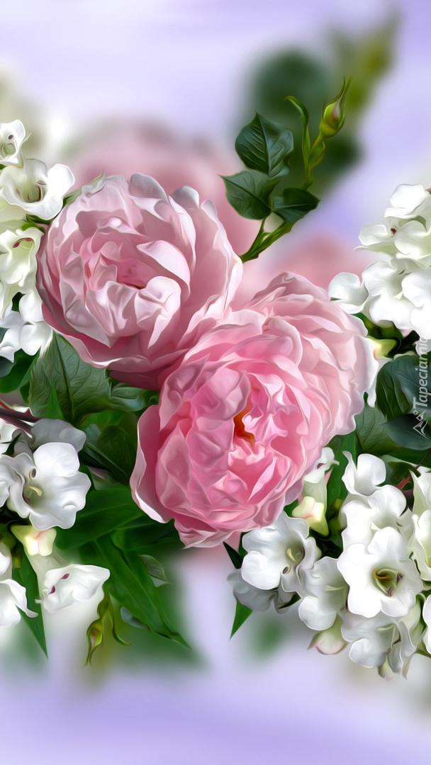 Białe i różowe kwiaty w grafice