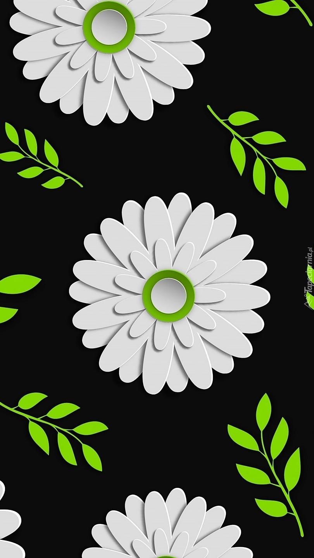 Białe kwiaty na ciemnym tle