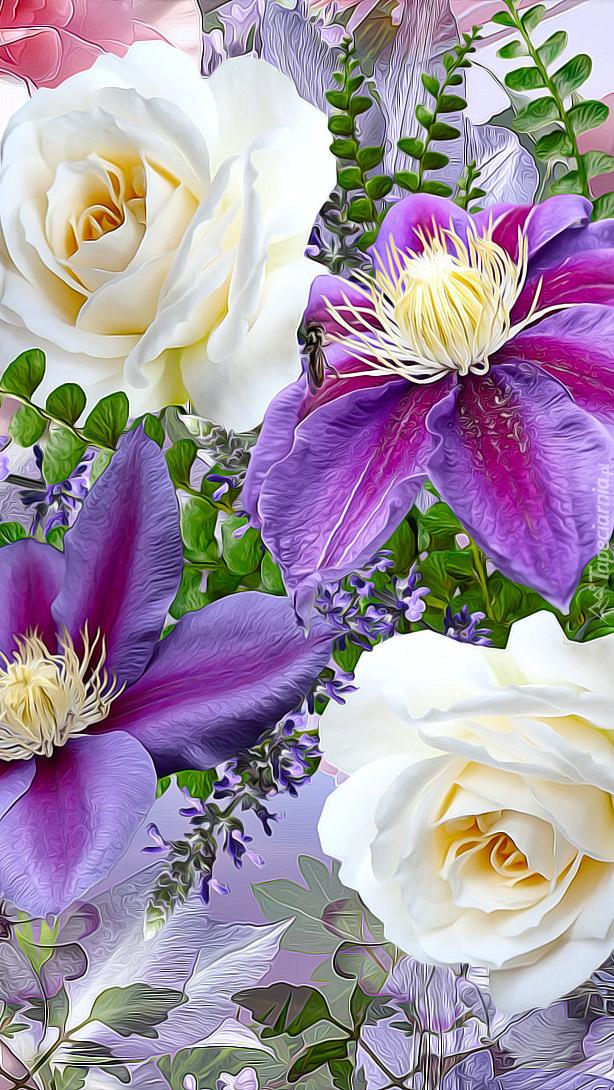 Białe róże i powojniki