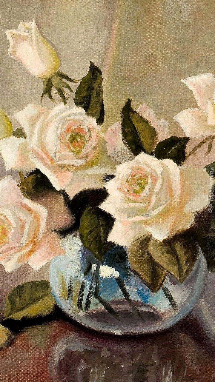 Białe róże na obrazie