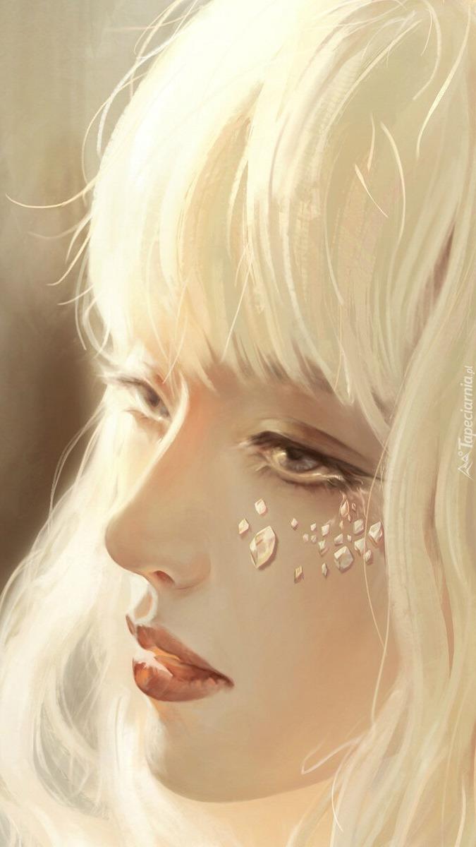 Białowłosa smutna dziewczyna