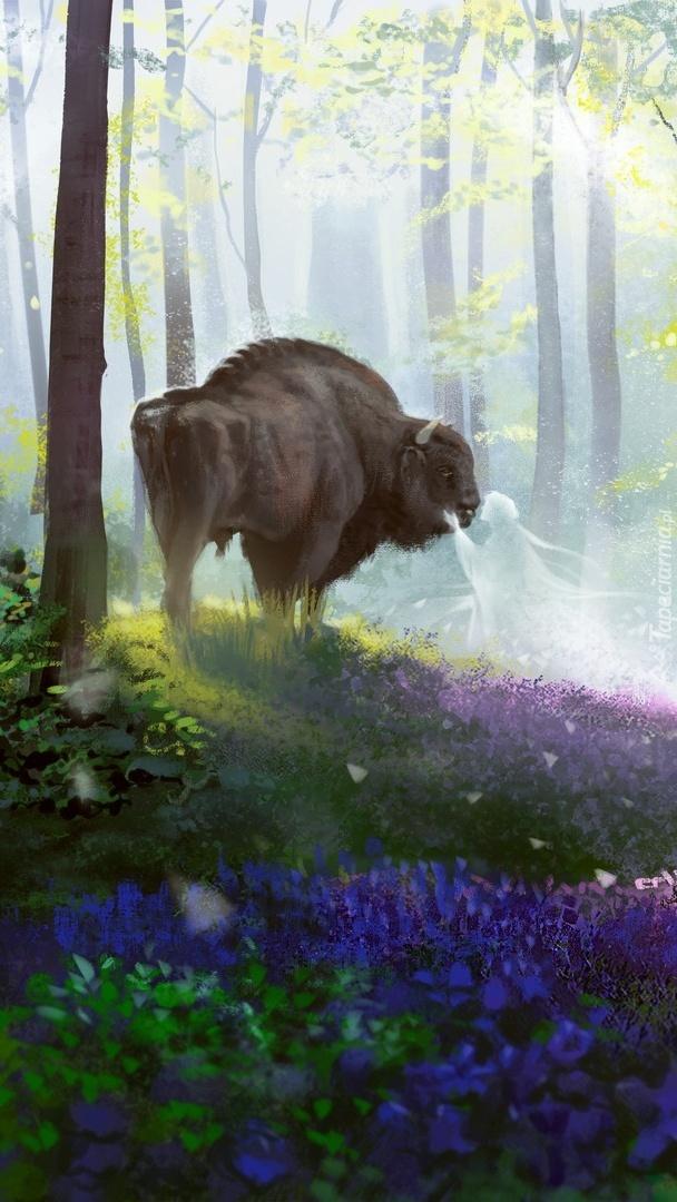 Bizon w lesie