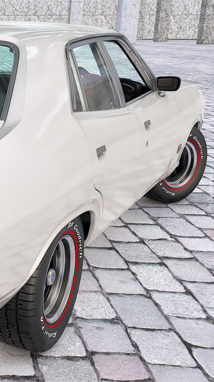 Bok białego Forda Falcona XA