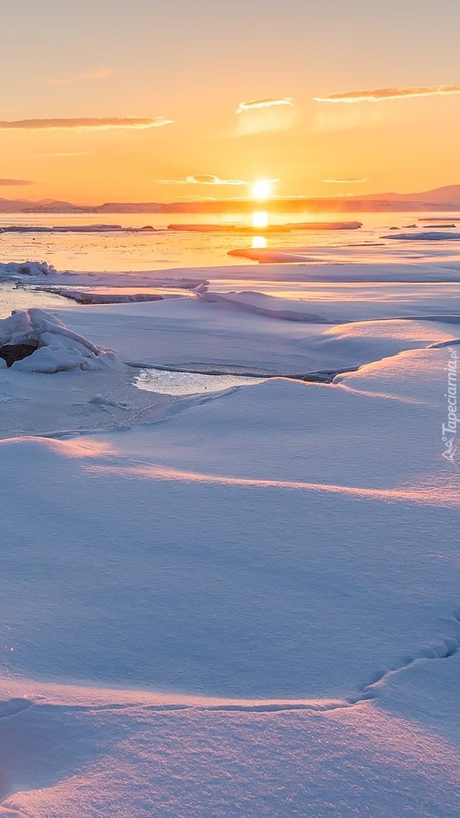 Brzeg morza zasypany śniegiem o wschodzie słońca