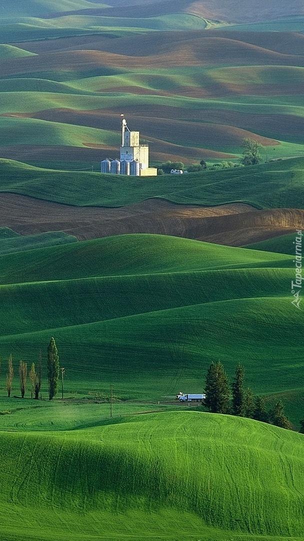 Budynki na zielonych wzgórzach