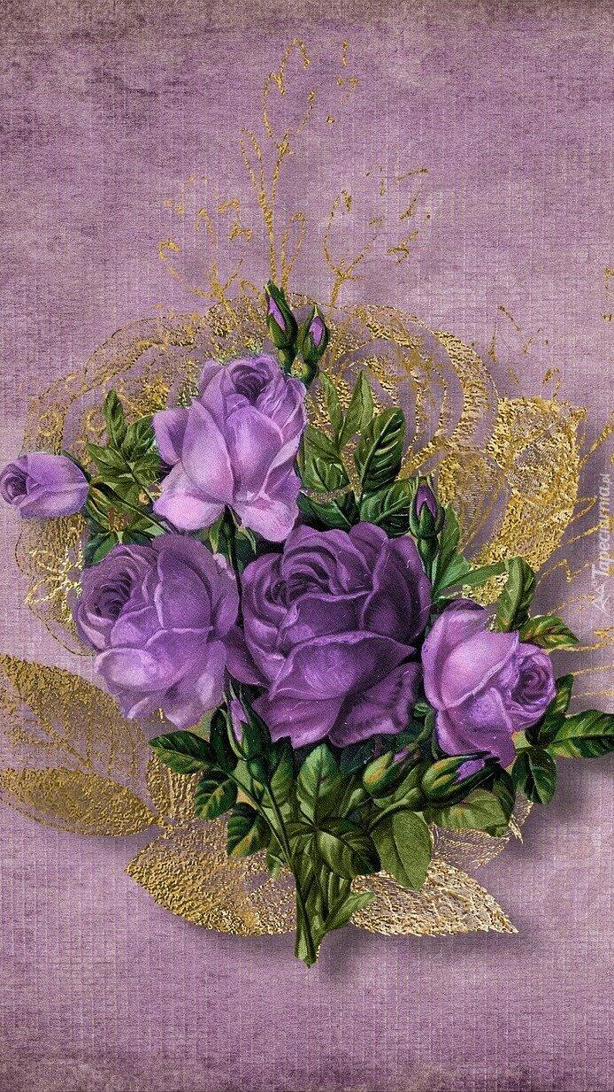Bukiet fioletowych róż