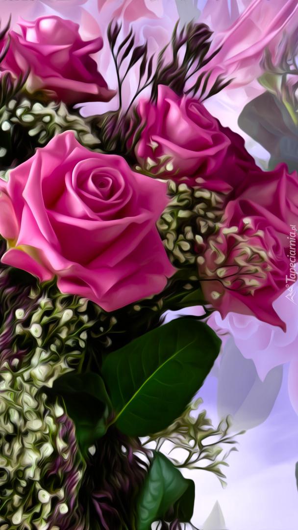 Bukiet róż w grafice