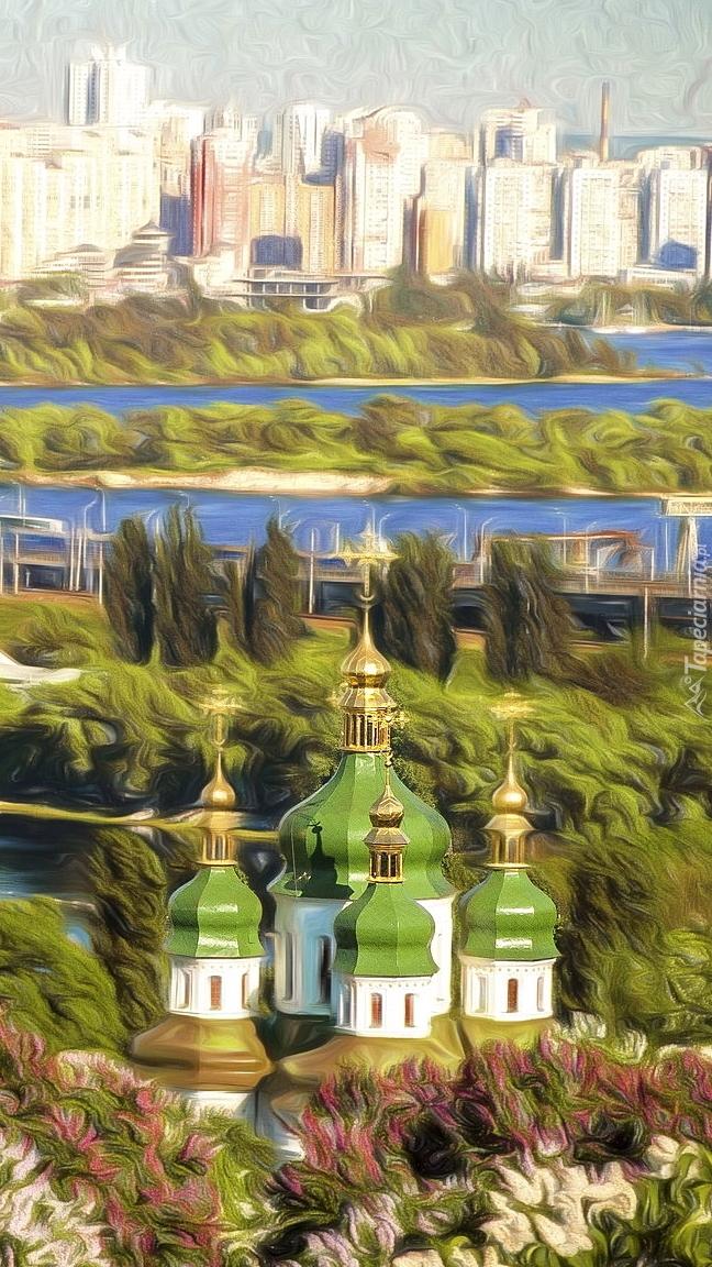 Cerkiew i domy w grafice