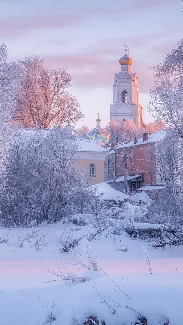 Cerkiew pośród ośnieżonych drzew