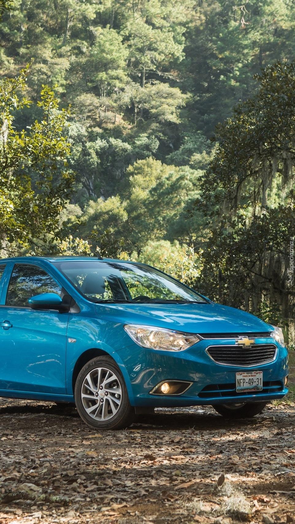 Chevrolet Aveo przy drzewach