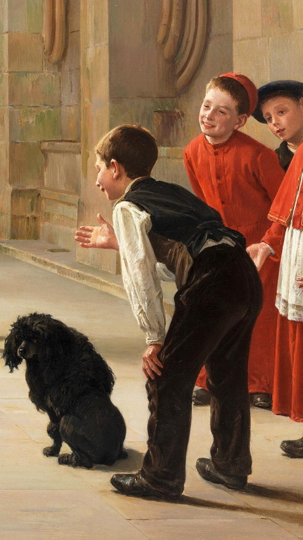 Chłopcy i pies na obrazie Charlesa Bertranda dEntrayguesa