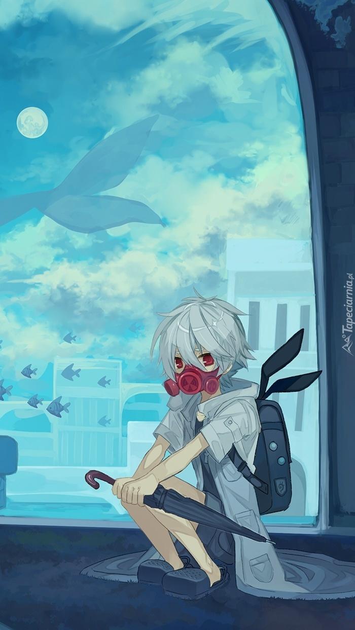 Chłopiec z parasolem