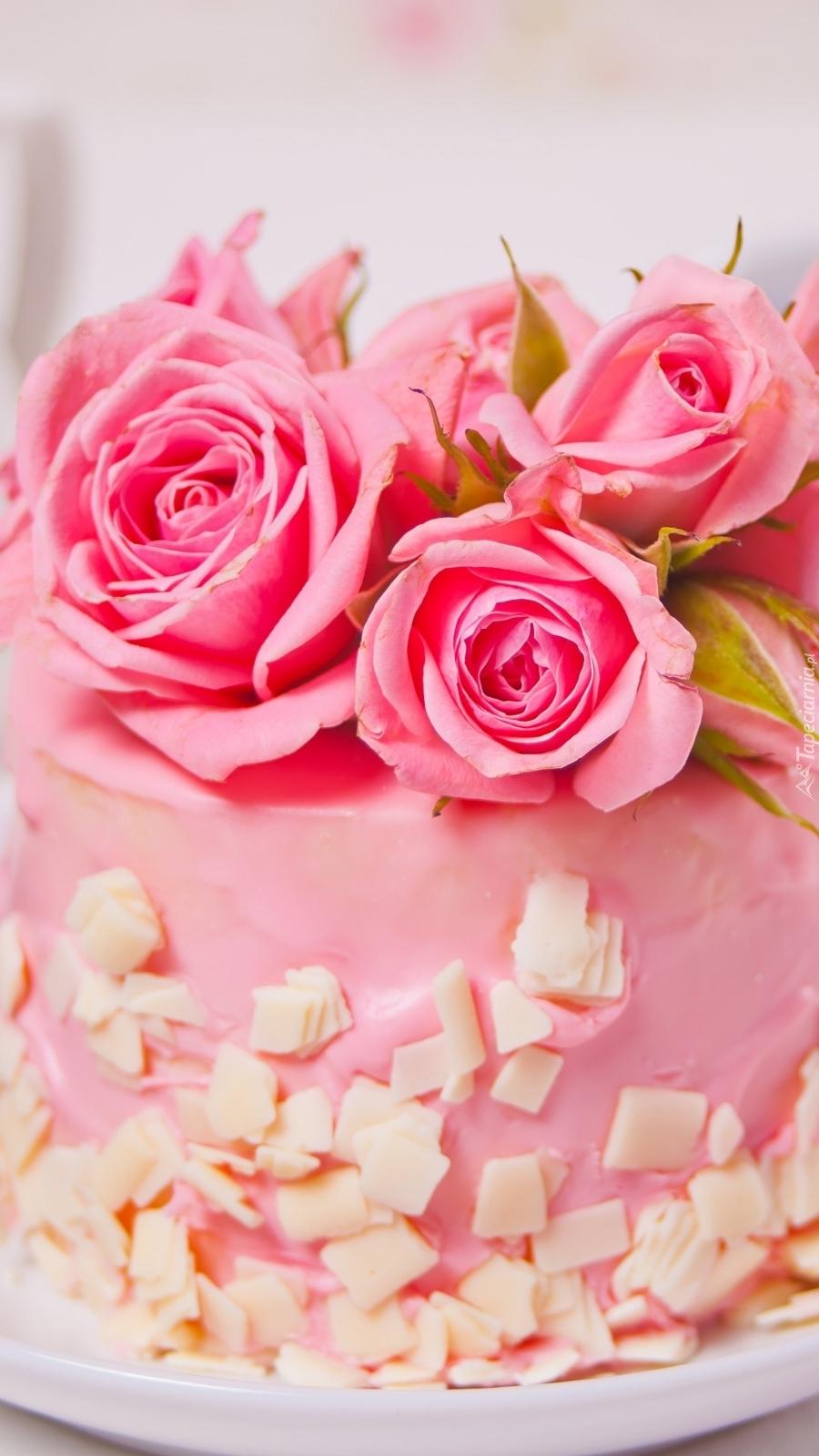 Ciastko udekorowane różami