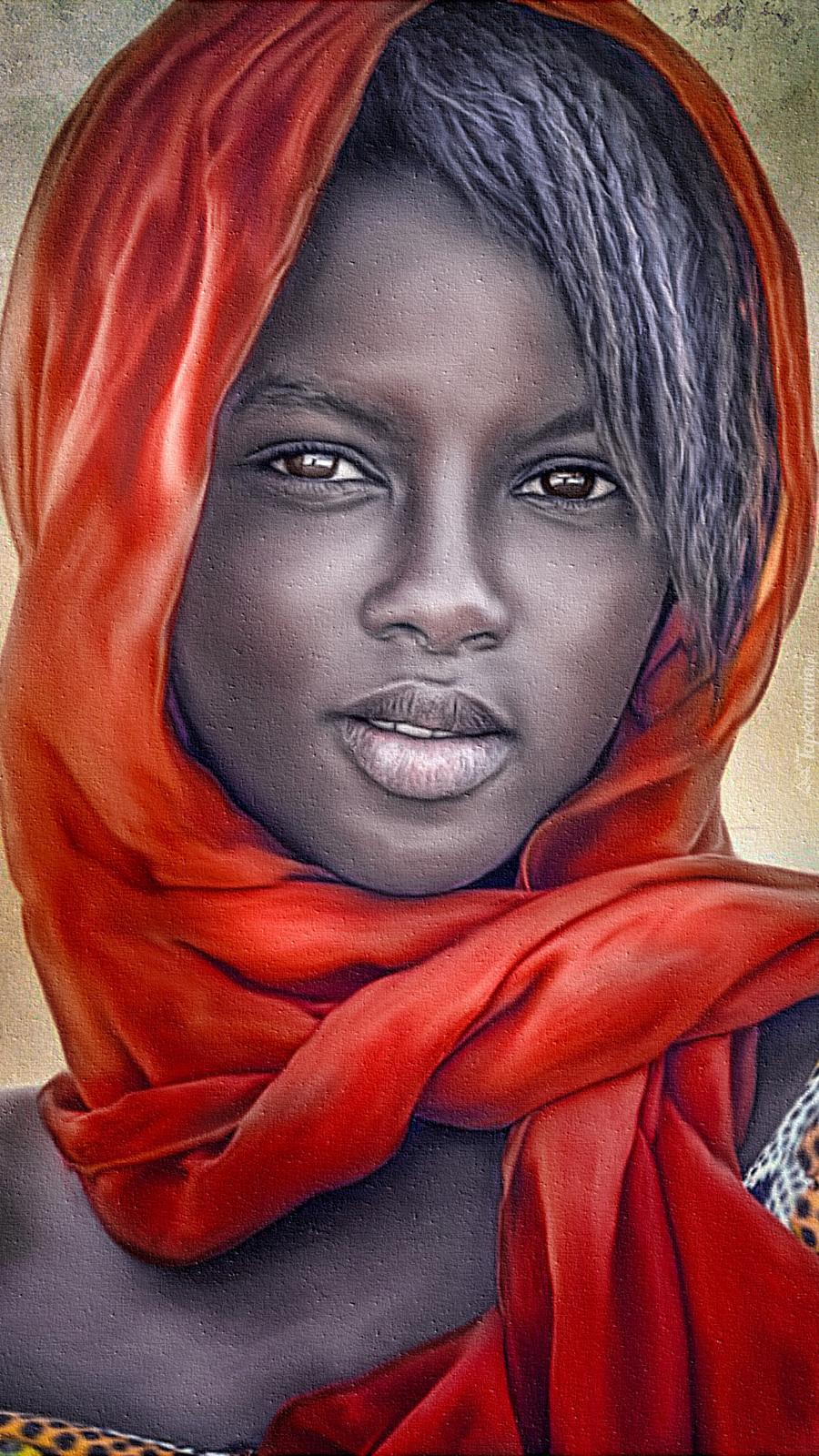 Ciemnoskóra kobieta w czerwonym szalu