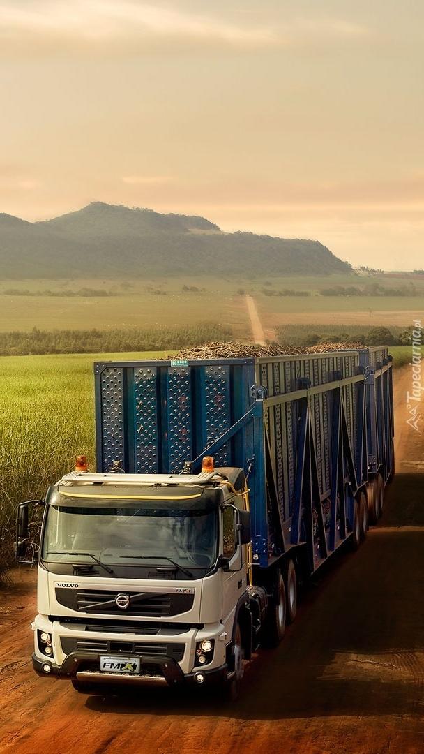 Ciężarówka Volvo na polnej drodze