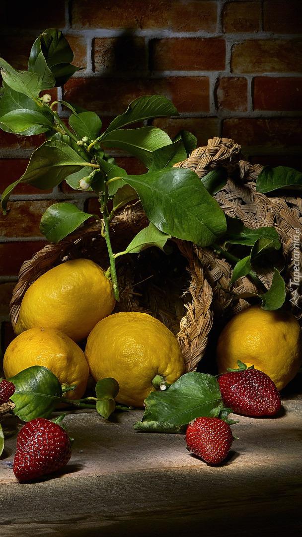 Cytryny i truskawki w kompozycji