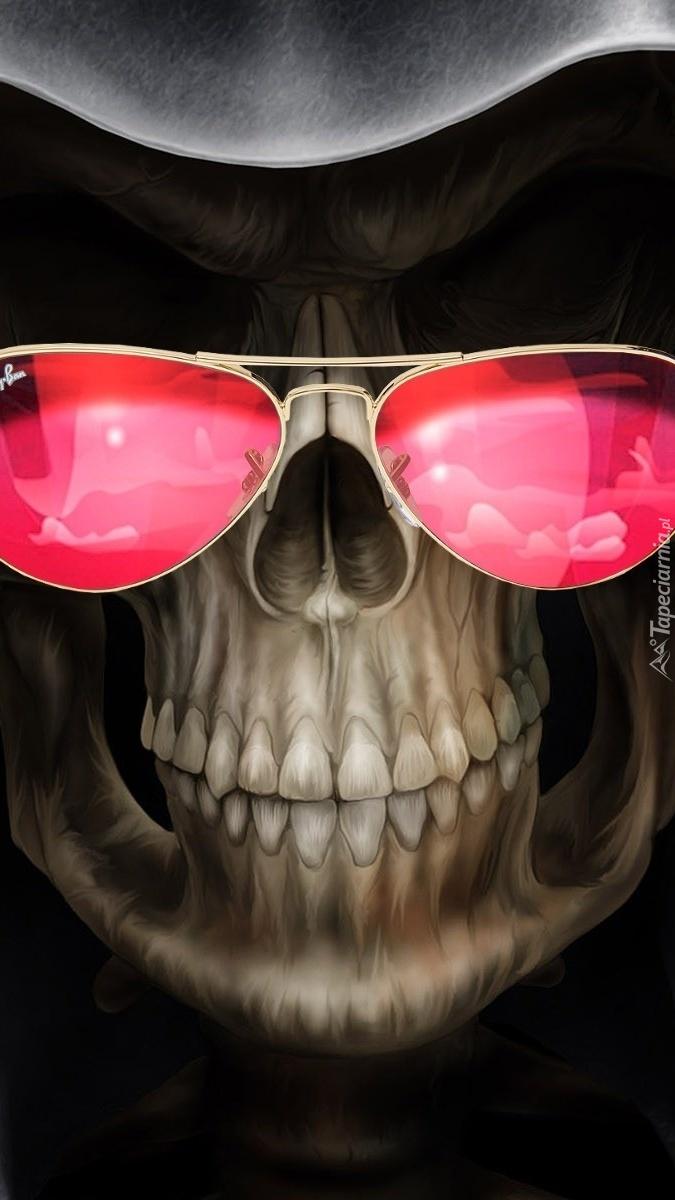 Czaszka w różowych okularach