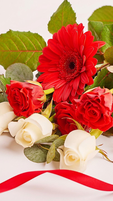 Czerwona gerbera i róże