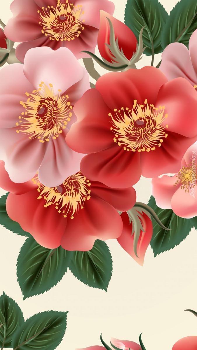 Czerwone i różowe kwiaty w 2D