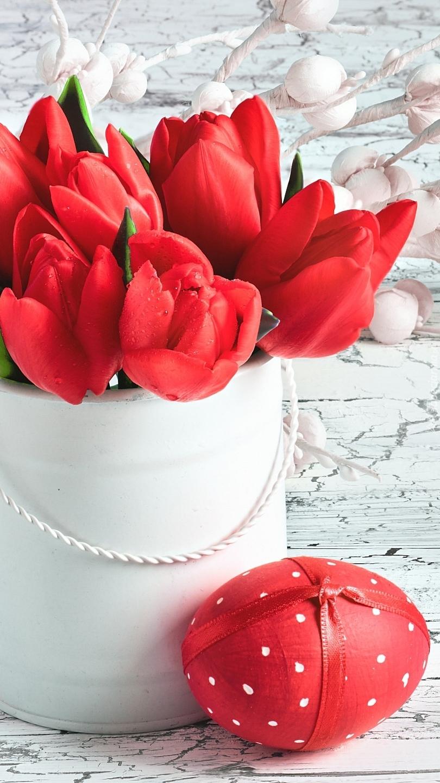 Czerwone tulipany i pisanka w kropeczki