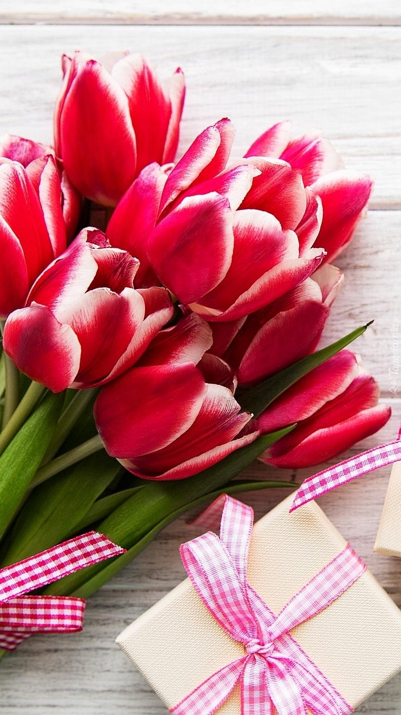 Czerwone tulipany i prezent