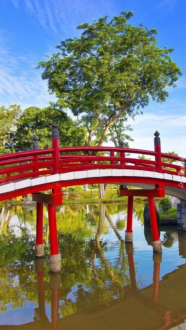 Czerwony mostek nad rzeką