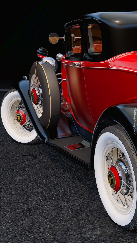 Czerwony zabytkowy Ford Coupe Deluxe bokiem