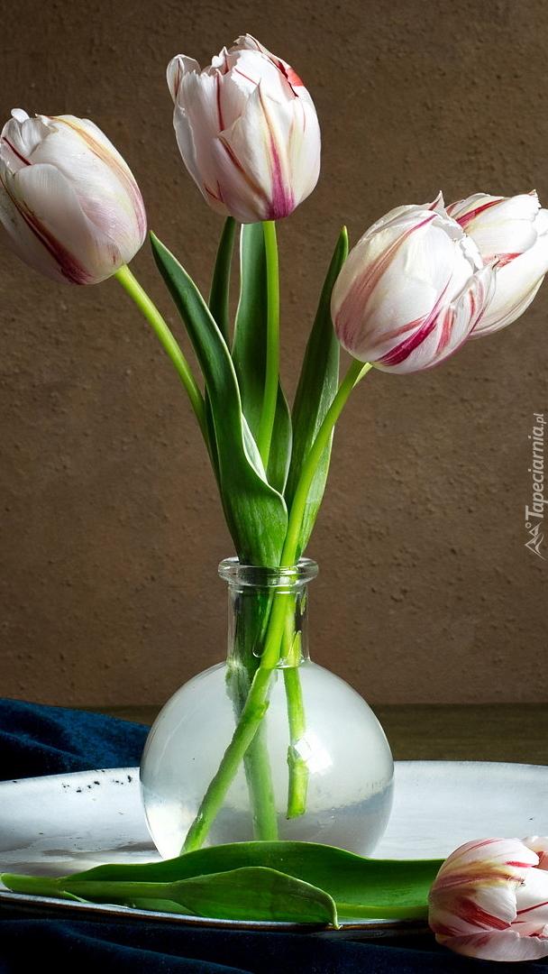 Cztery tulipany w wazoniku