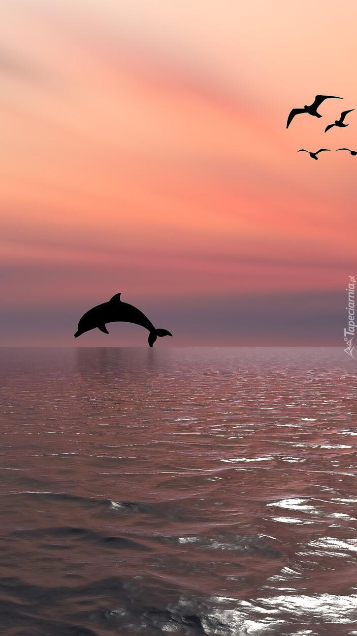 Delfin i ptaki nad morzem w 2D