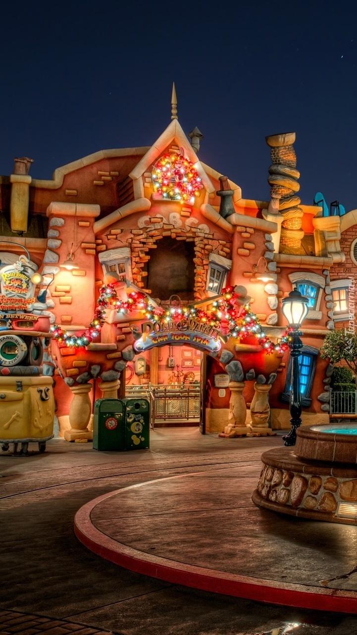 Disneyland nocą w Kalifornii