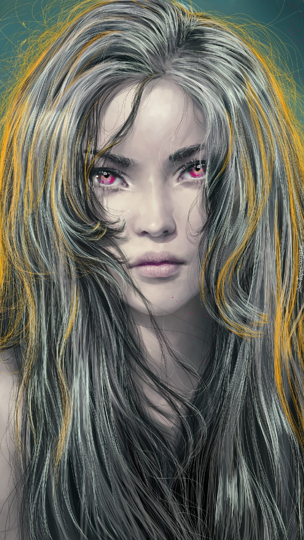 Długowłosa kobieta o czerwonych oczach