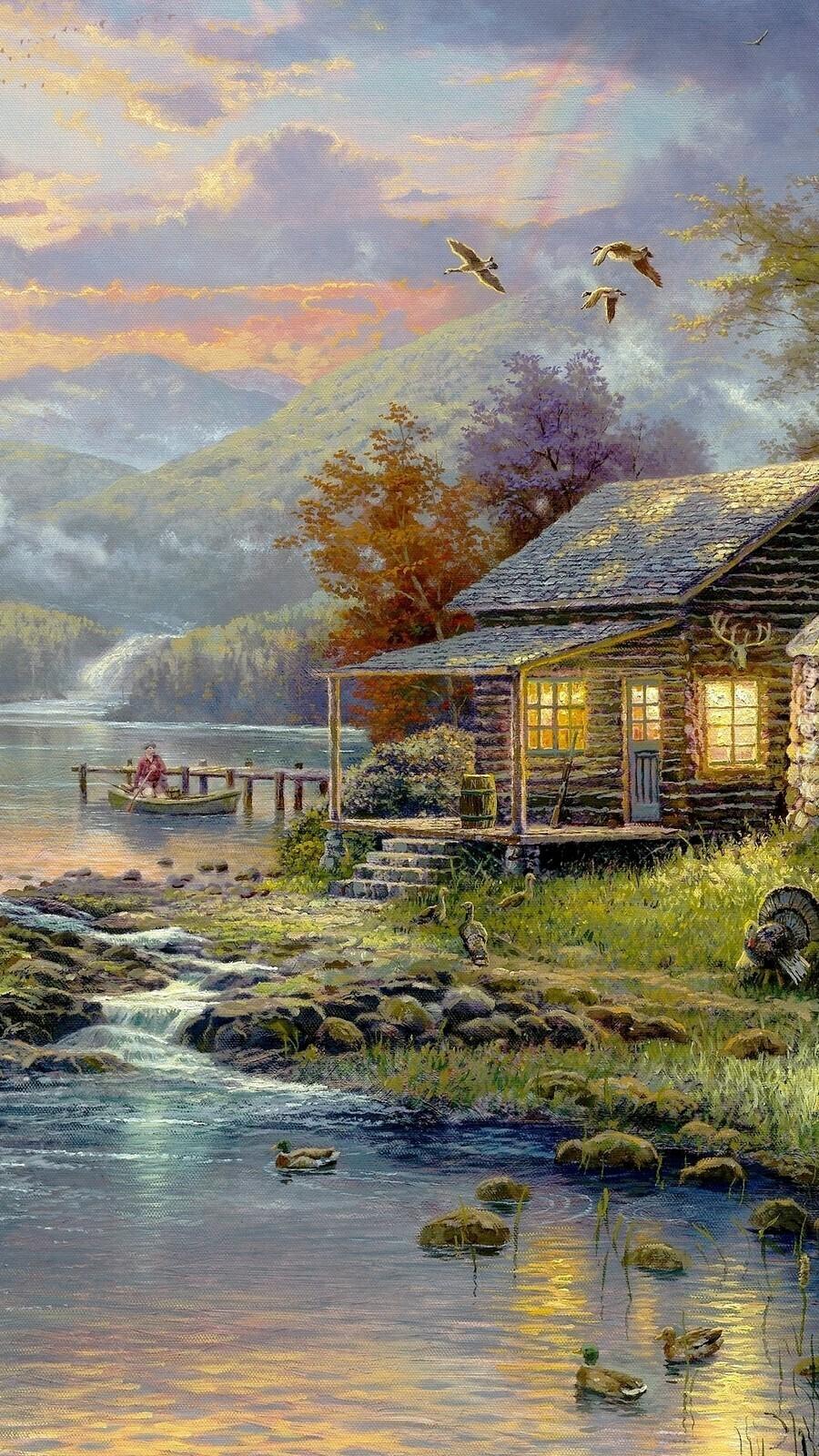 Domek nad jeziorem w obrazie Thomasa Kinkade