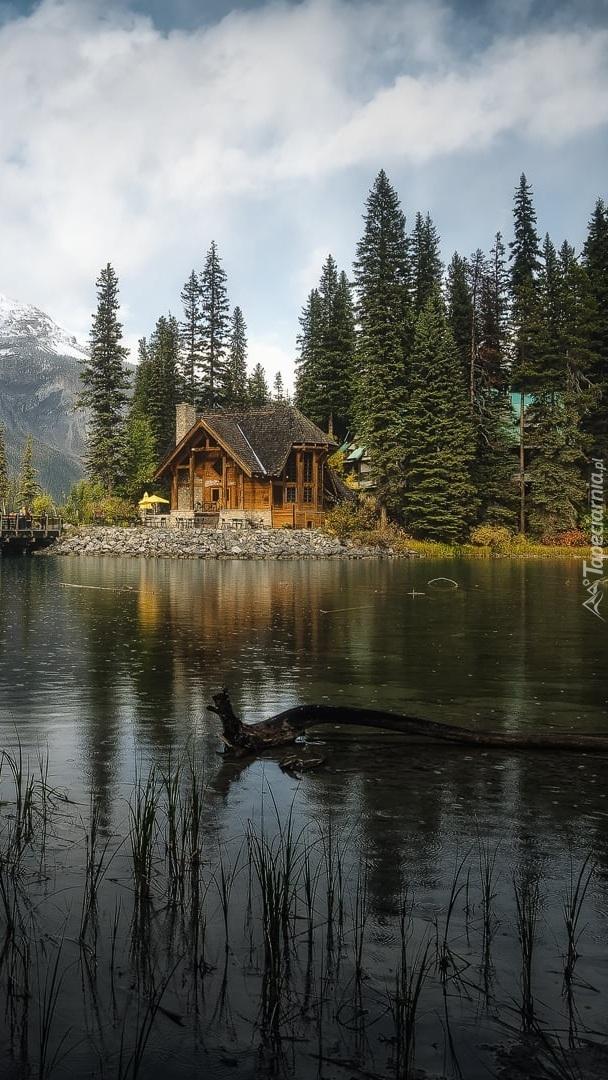 Domek pod lasem nad jeziorem Emerald Lake