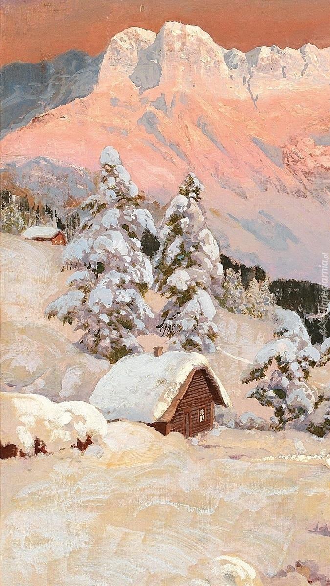 Domek w zimowych górach na obrazie Aloisa Arneggera