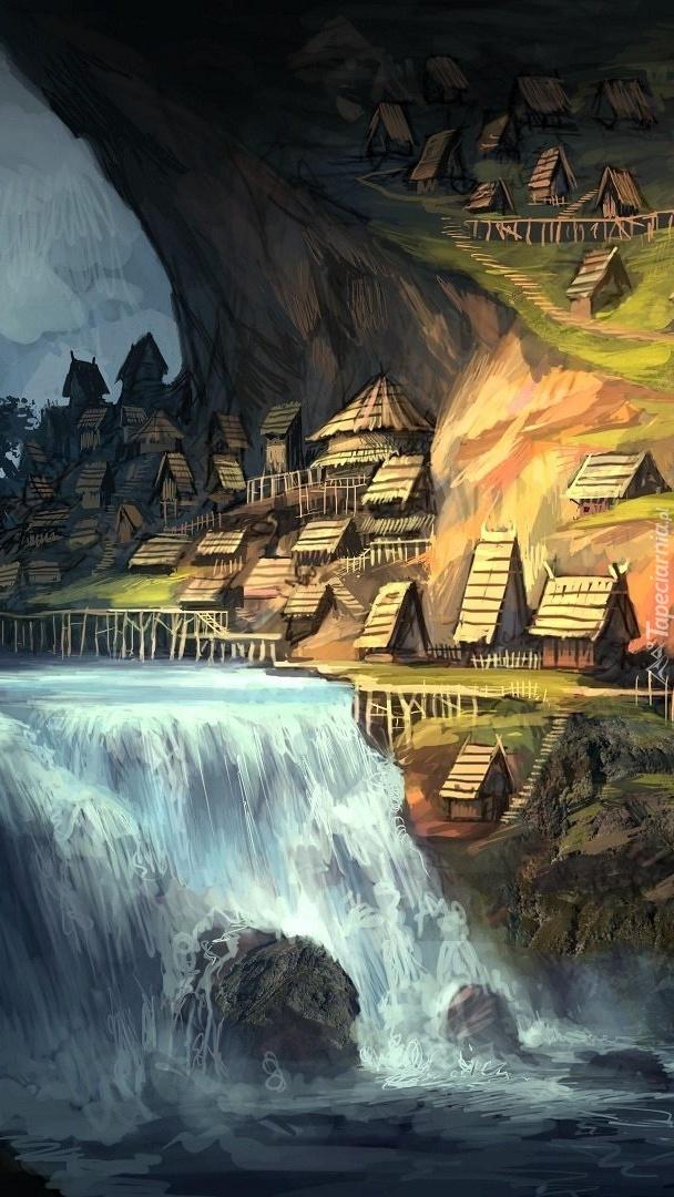 Domy na skałach w grafice