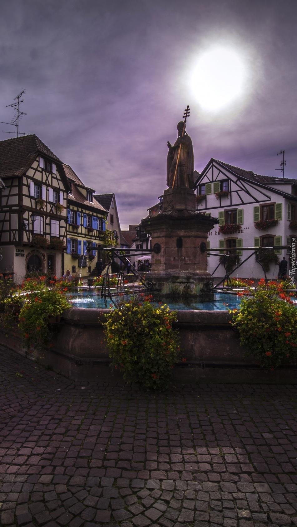 Domy wokół fontanny i posągu świętego Leona