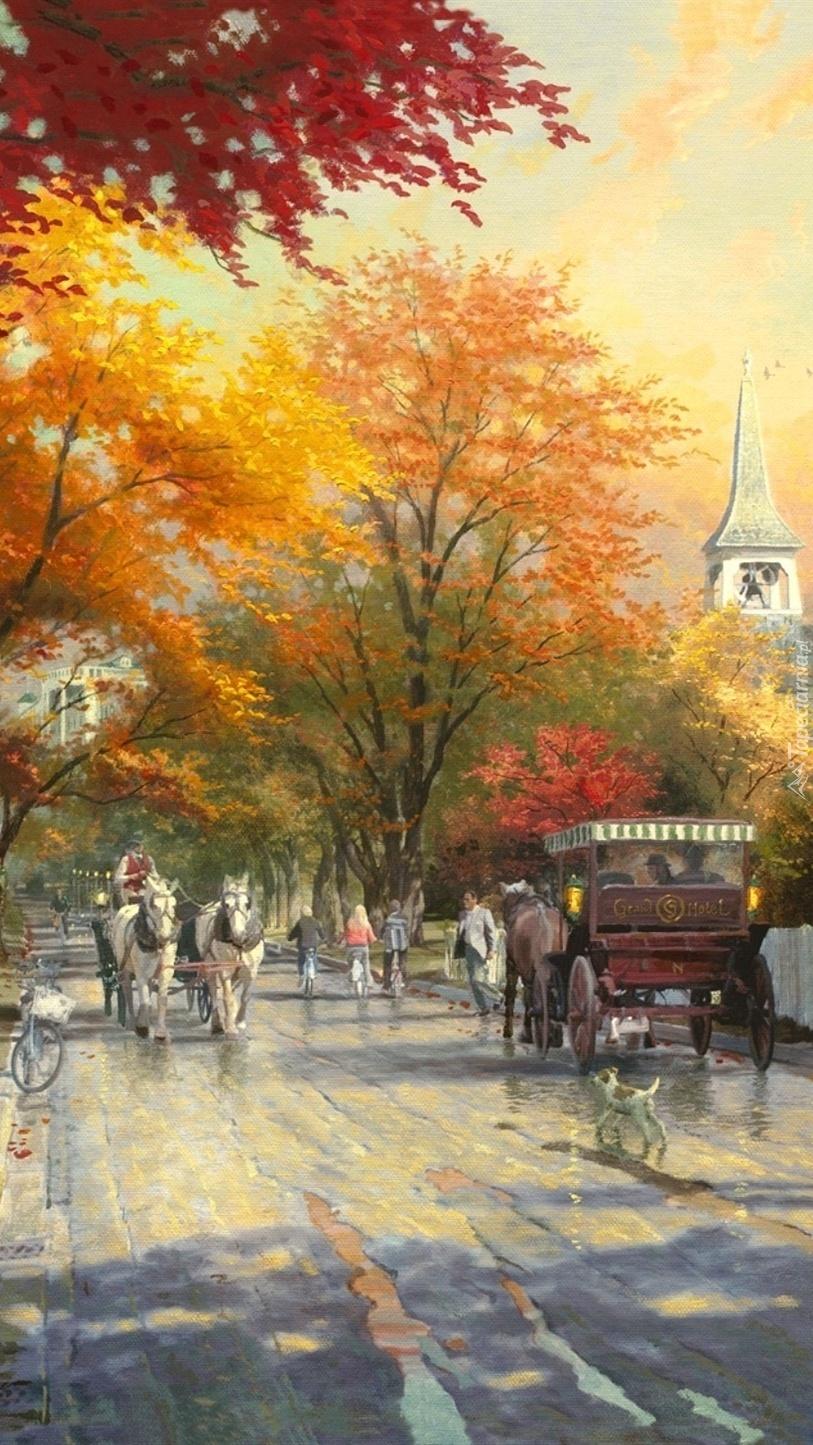 Dorożką po  jesiennych ulicach
