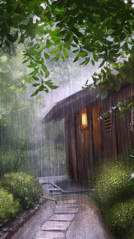 Drewniana chata przy ścieżce w grafice