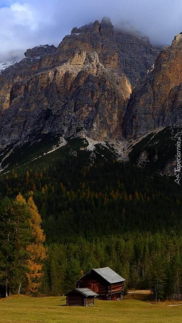 Drewniane szopy pod lasem w górach