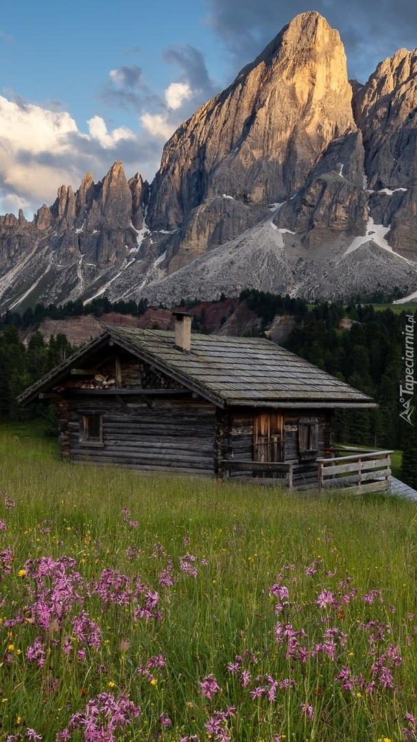Drewniany dom na tle góry Peitlerkofel