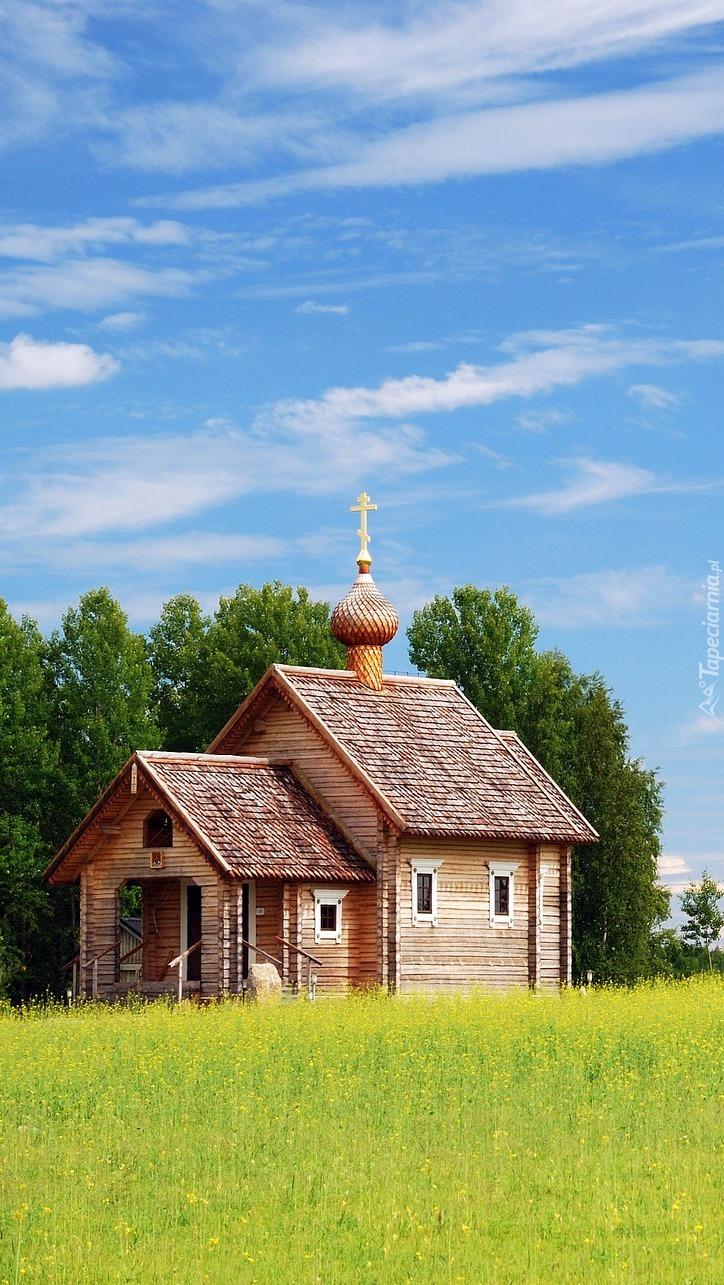 Drewniany kościół na łące pod lasem